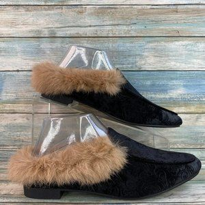 Yoki Willis-23 Black Velvet Faux Fur Mule Slippers